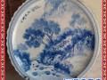 定制圆形陶瓷手绘山水屏风田园风光装饰赏盘海鲜大盘