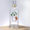 直管圆柱形玻璃酒瓶创意玻璃内置绿松造型空酒瓶